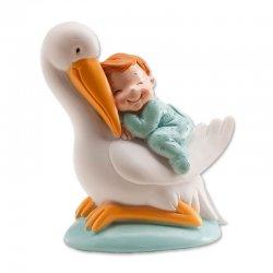 Cicogna Con Bambino Azzurro 10 cm