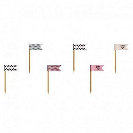 6 Palillos con Banderitas estampadas de Lunares y Corazones