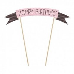 Striscione Decorativo Happy Birthday per Torte 19 cm