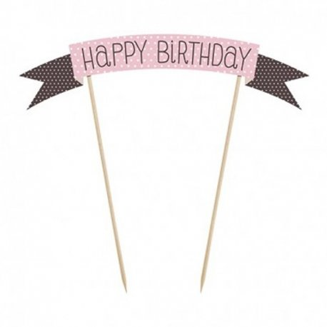 Mini Pancarta para Tarta de cumpleaños Happy Birthday de 19 cm